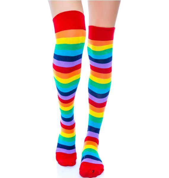Star Jammerz Rainbow Thigh Highs