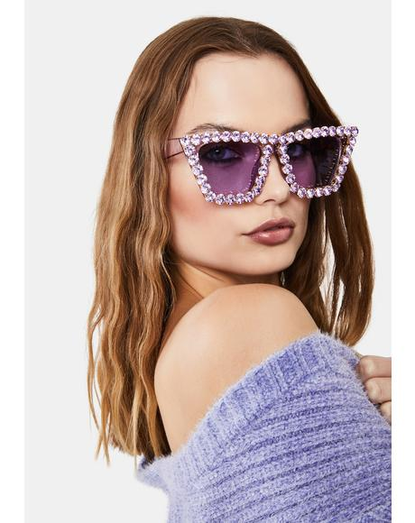 Lilac Club Glam Rhinestone Oversized Sunglasses
