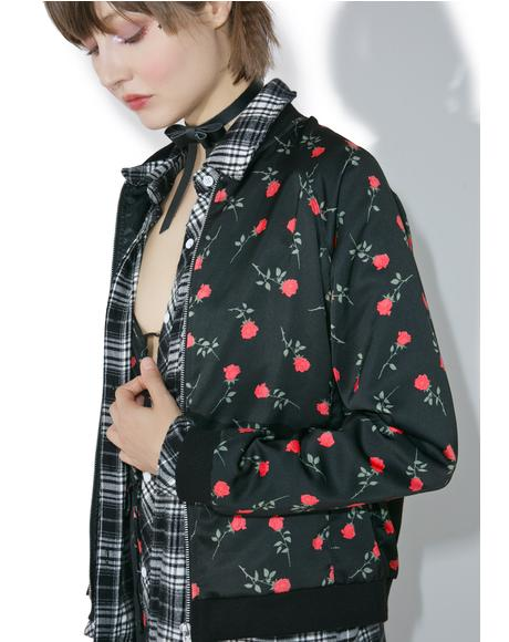 Satin Rose Bomber Jacket