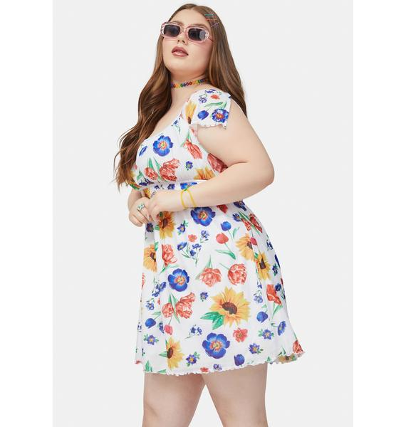 dELiA*s by Dolls Kill Bb Here Comes The Sun Floral Shirred Mini Dress