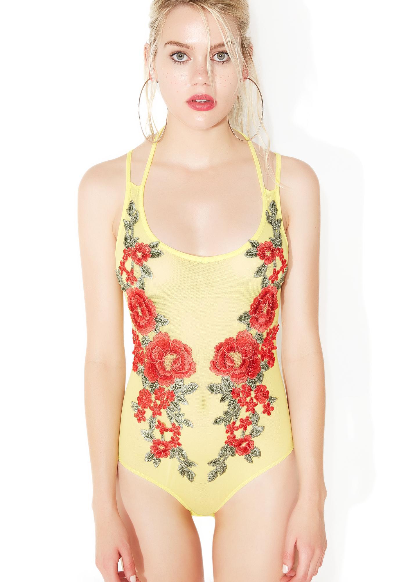 Sunny Sweet Bouquet Mesh Bodysuit