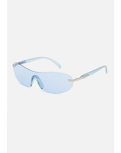 Blue 2000s Shield Sunglasses