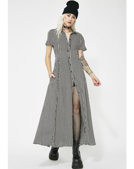 Odd Encounters Striped Maxi Dress