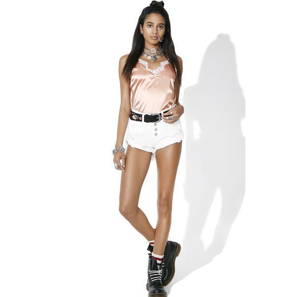 Glamorous Polar Distressed Denim Shorts