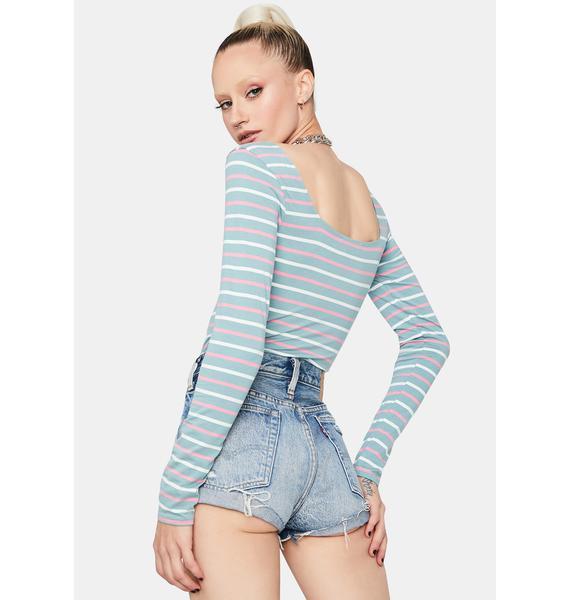 Lush Let Me Know Striped Bodysuit