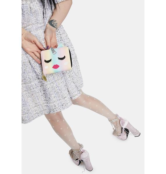 Betsey Johnson Pastel Unicorn Kitsch Zip Around Wallet