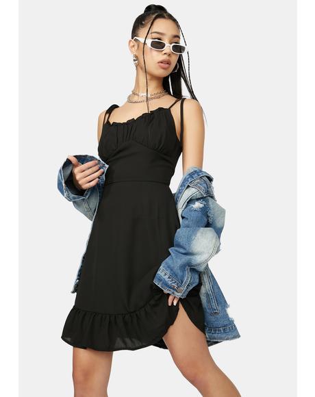 Ink No Promises Ruffle Tie Strap Mini Dress