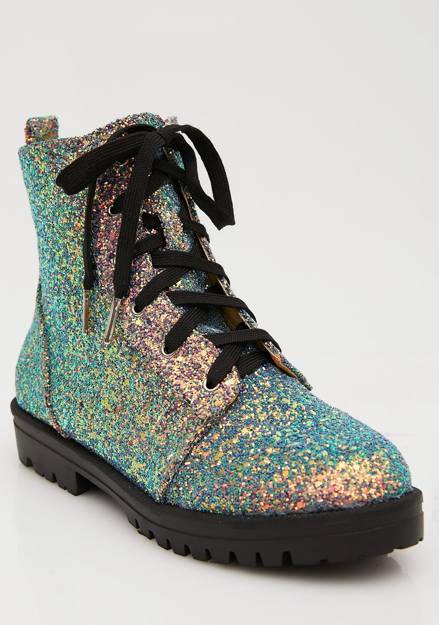 Sparkle All Over Combat Boots