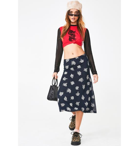 Motel Floral Tauri Midi Skirt