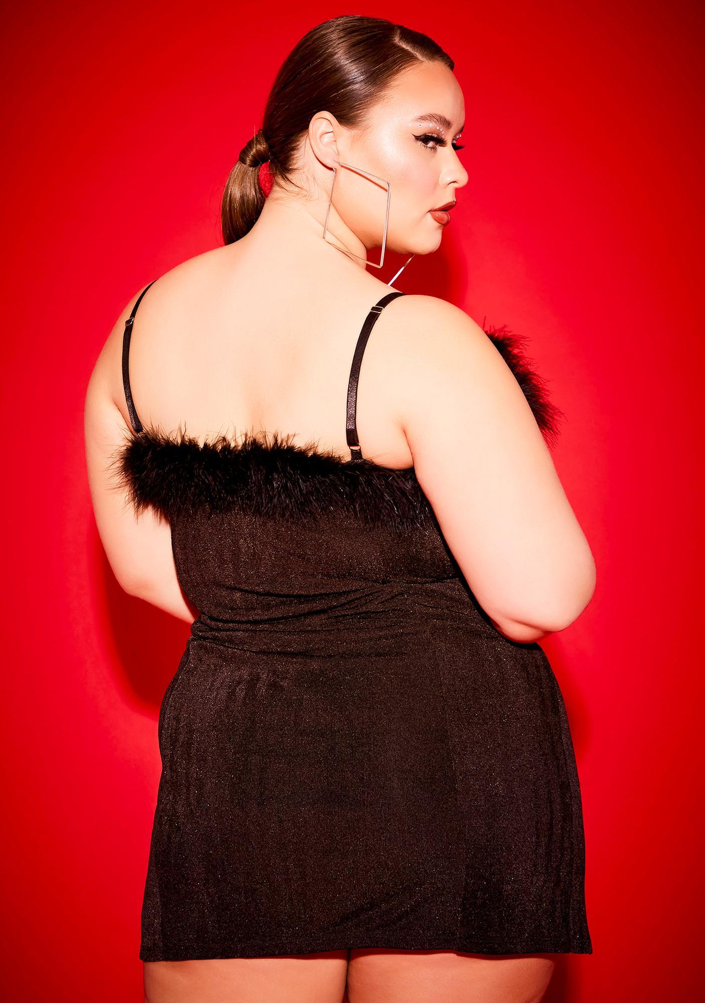 Poster Grl Miss Free Smoke Babygirl Boa Mini Dress