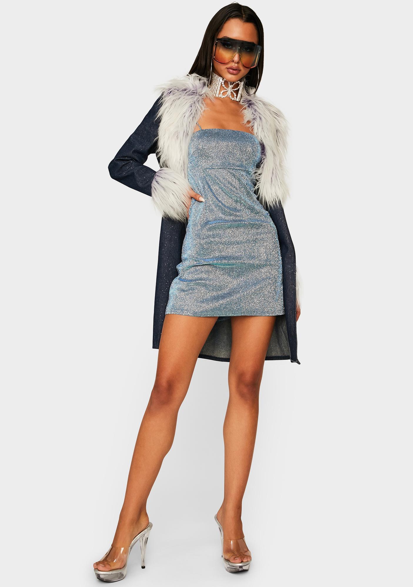 Momokrom Blue Glitter Bodycon Dress