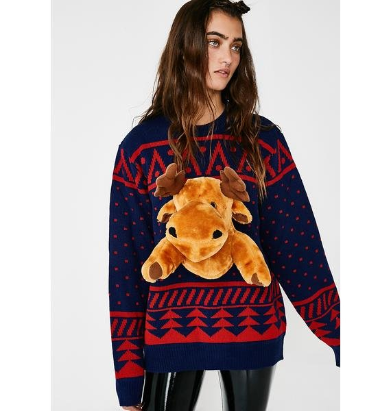 3D Christmas Moose Sweater