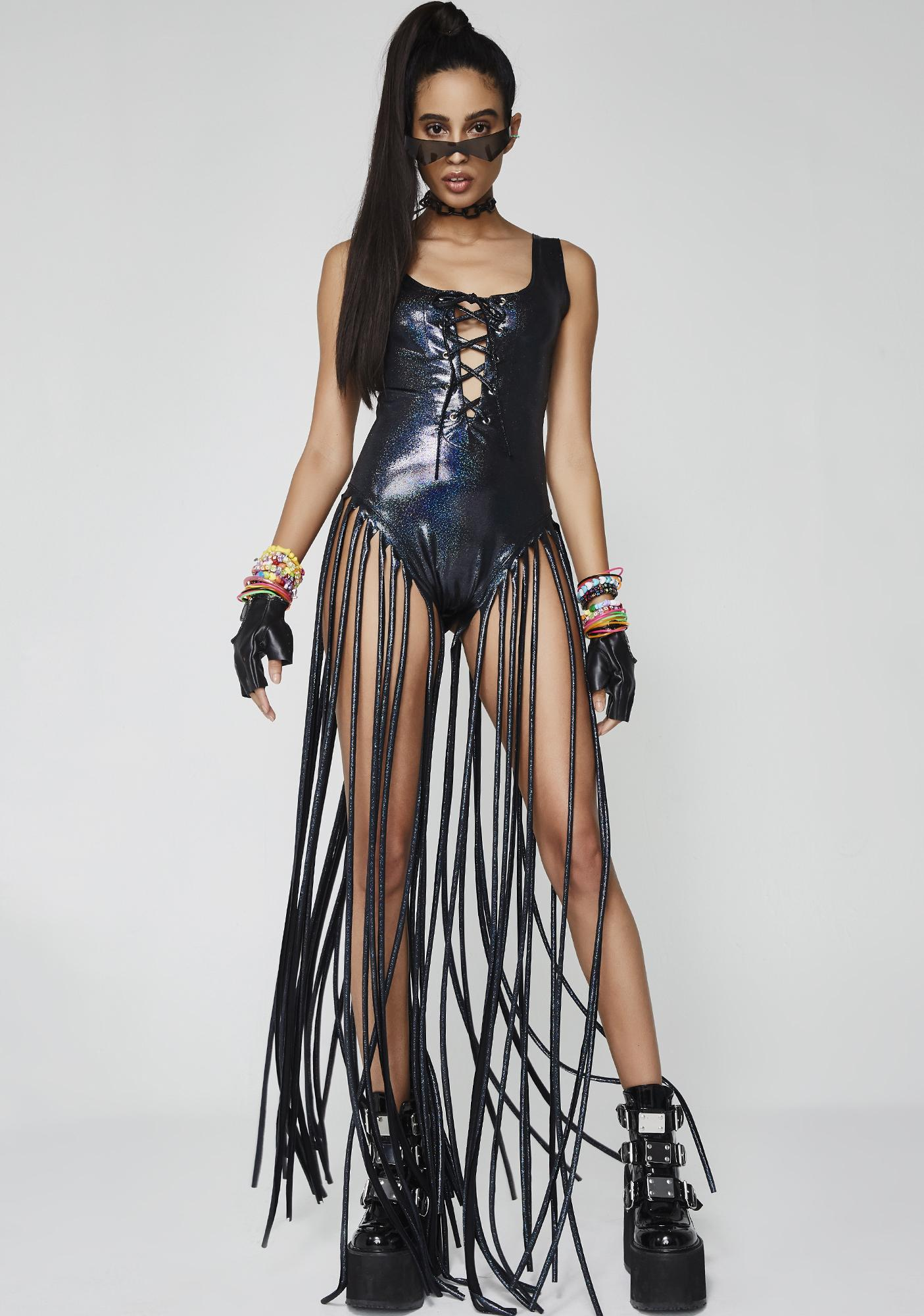 Cyber Sunrise Warrior Fringe Bodysuit