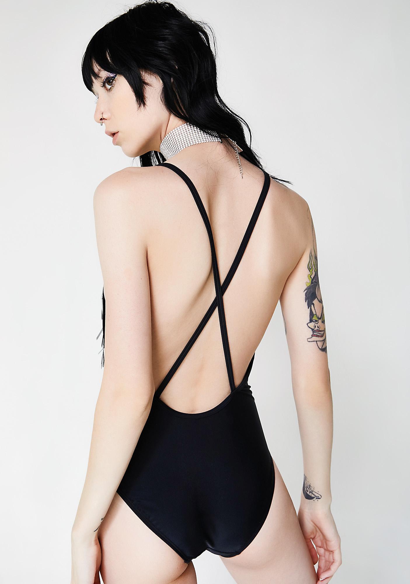 Jaded London Plunge Neck Sequin Bodysuit