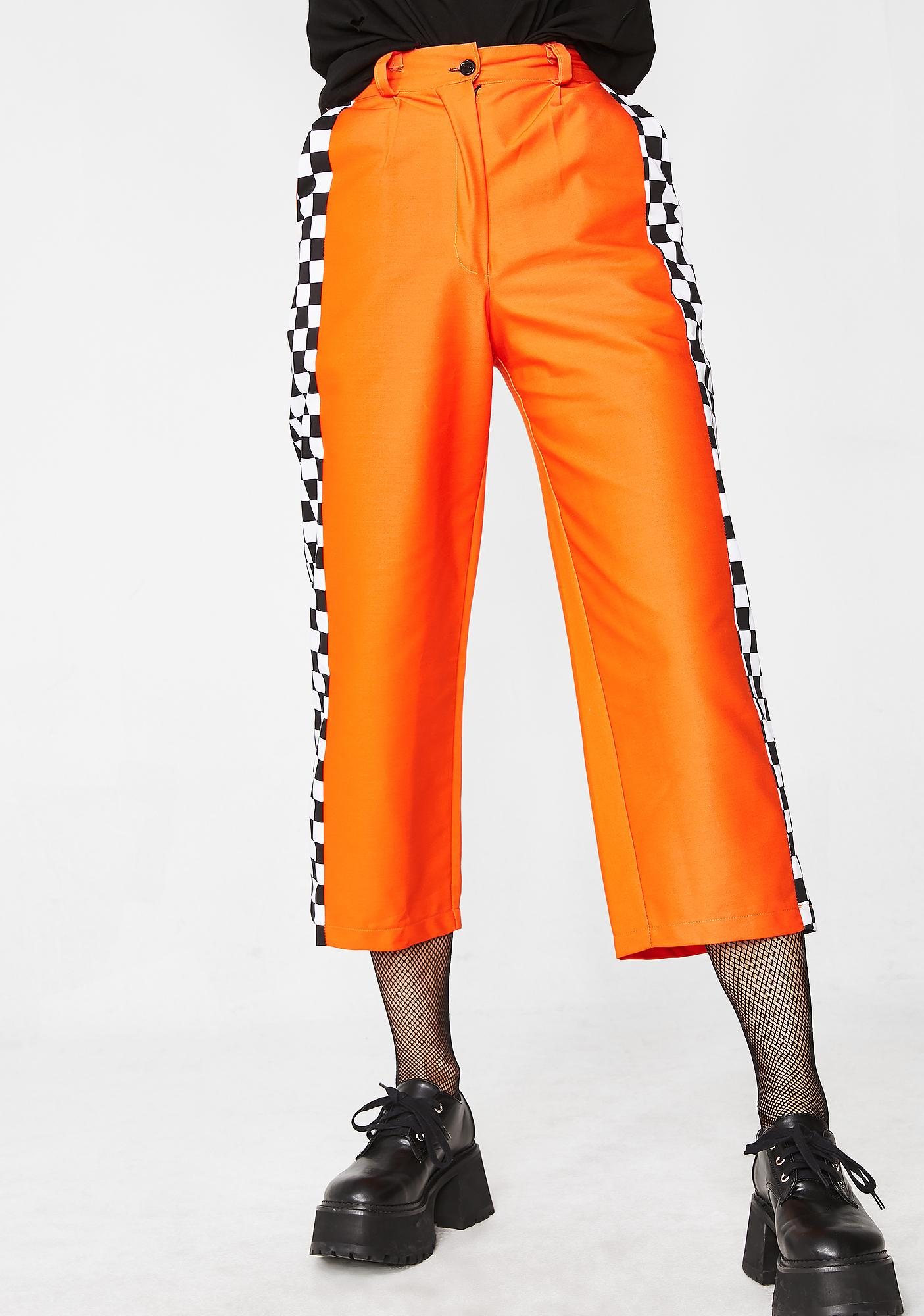 LOVE TOO TRUE Orange Check Wide Leg Trousers