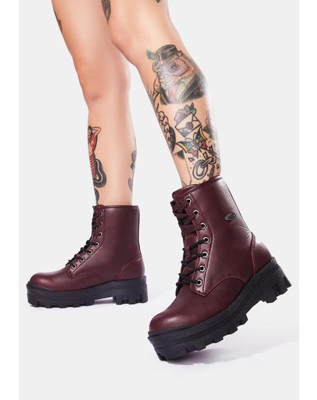 Wine Dutch 6-Inch Combat Boots