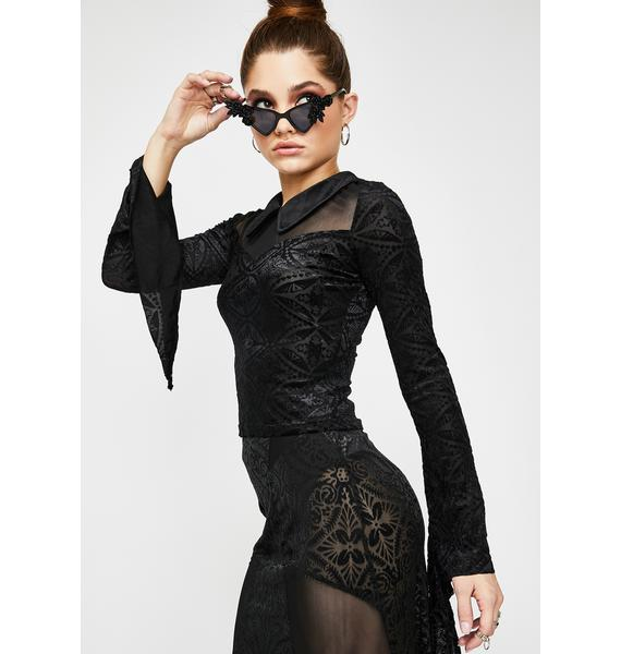 Devil Fashion Collared Long Sleeve Sheer Top