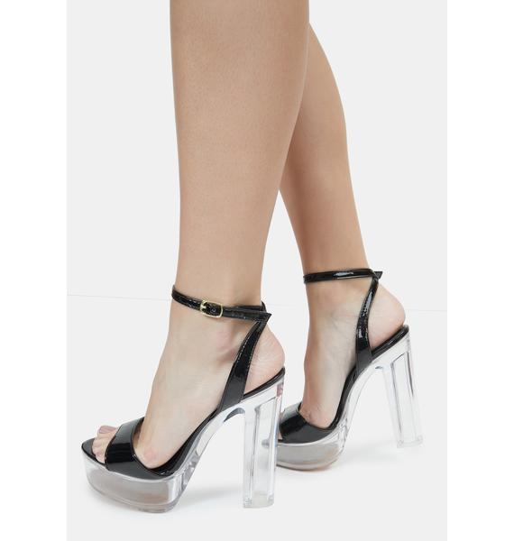 Lemon Drop by Privileged Black Turino Platform Heels