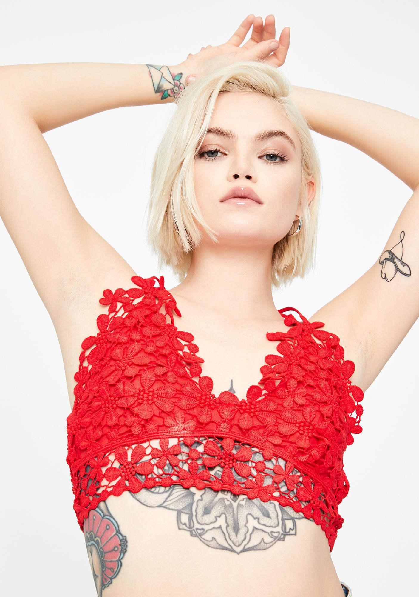 Free People Red Miss Dazie Crochet Bralette