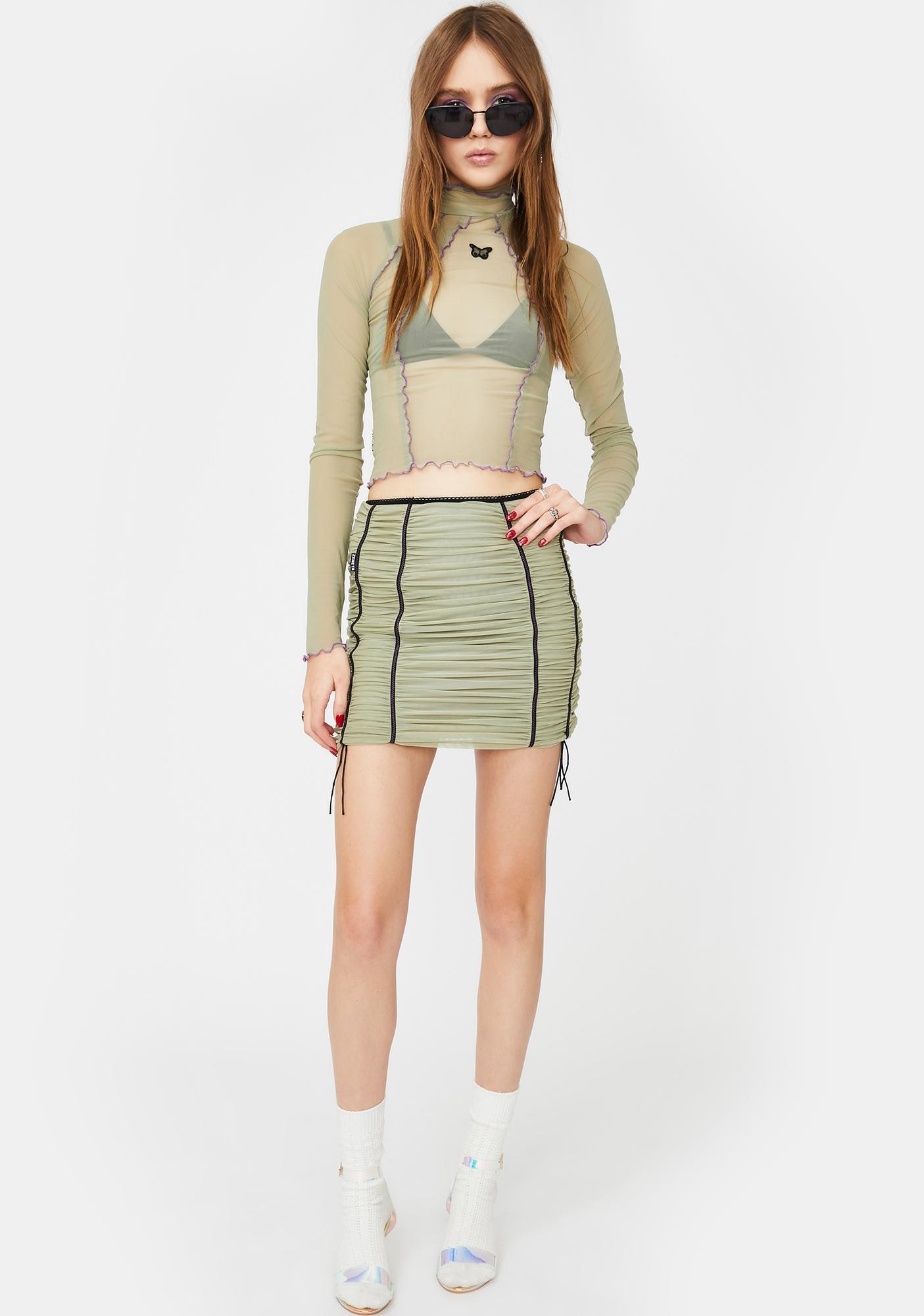 ZEMETA Khaki Mood Ruched Mini Skirt