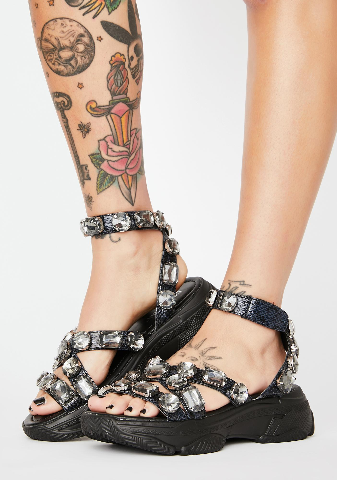 Dark Sparklin' Strut Platform Sandals