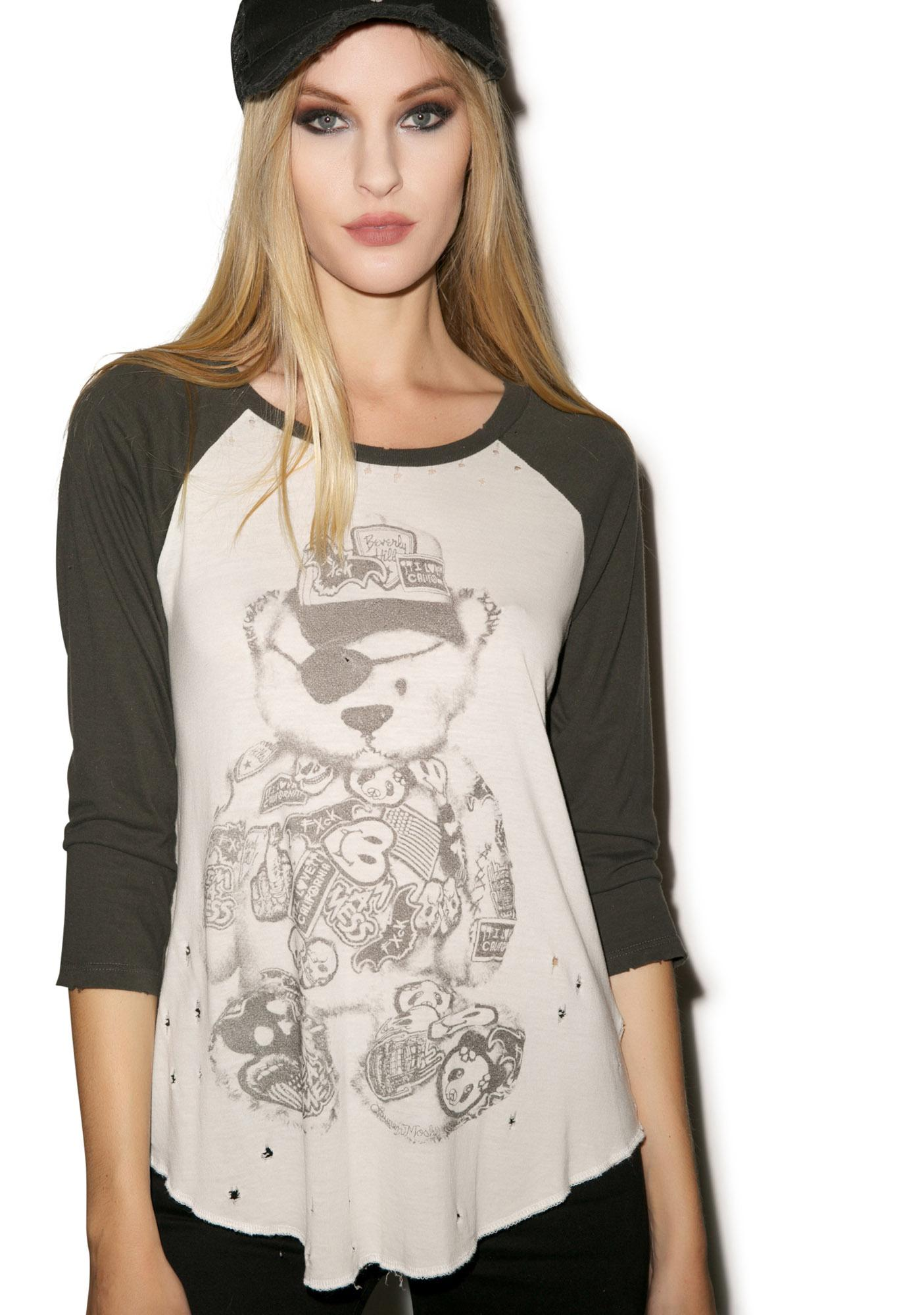 Lauren Moshi Maglan Patch Bear Boyfriend Raglan