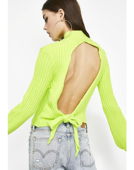Lime Signed N' Delivered Open Back Sweater