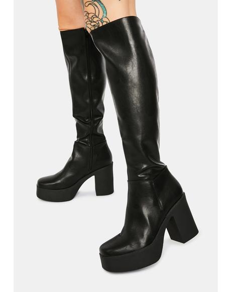 Slick Nicks Knee High Platform Boots