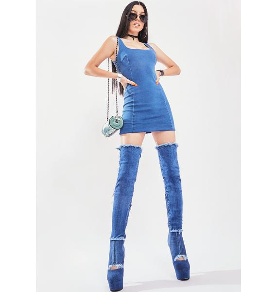 Baddie Behavior Denim Mini Dress