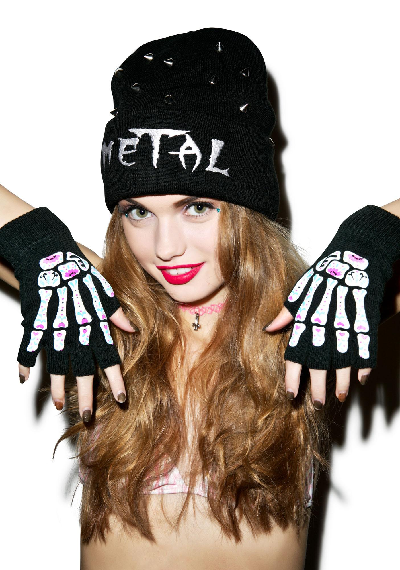 Too Fast Day Of The Dead Bones Fingerless Gloves