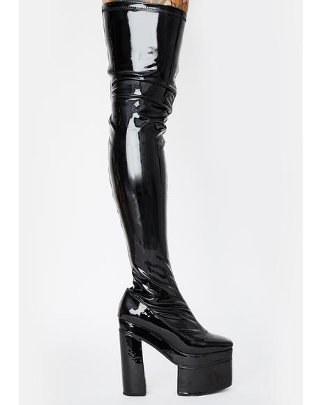 Vampette Patent Thigh High Boots