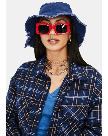 Cherry Hot Goss Oversized Rectangle Sunglasses