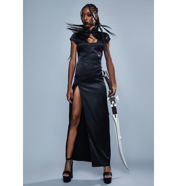 Widow Raging Inferno Satin Maxi Dress