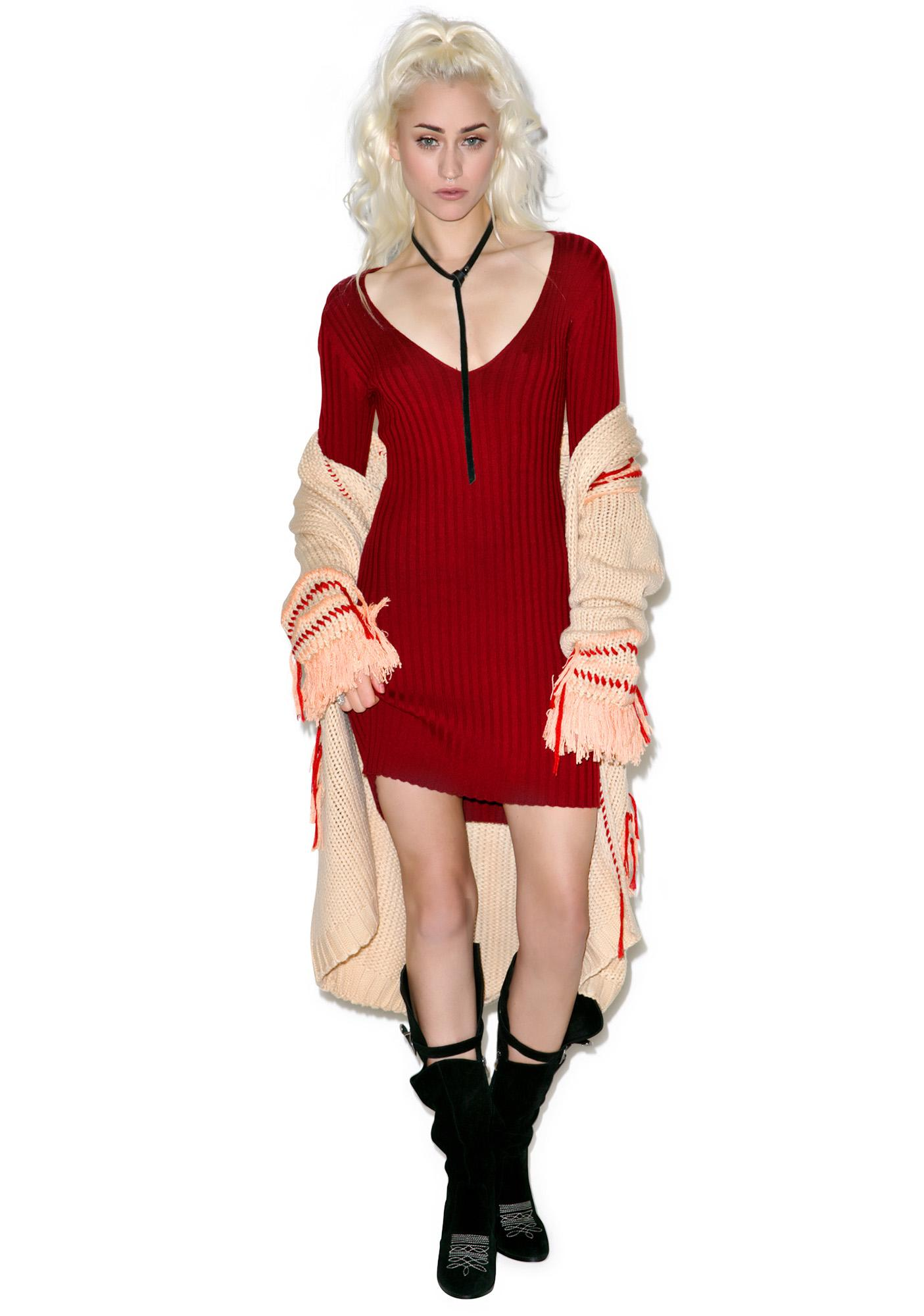 For Love & Lemons Everyday is V-Day Knit V-Neck Dress