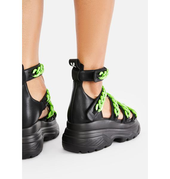 Koi Footwear Green Strident Chain Gladiator Sandals