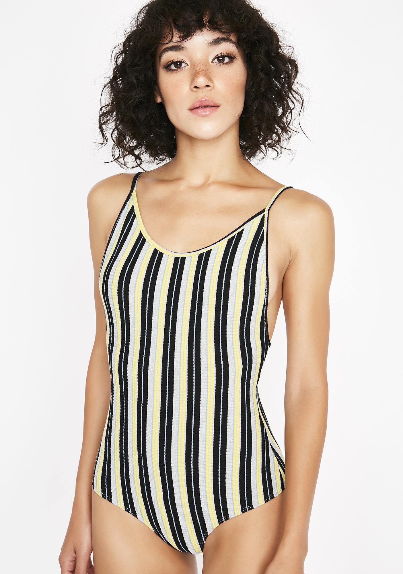 Dark Get Into Trouble Striped Bodysuit
