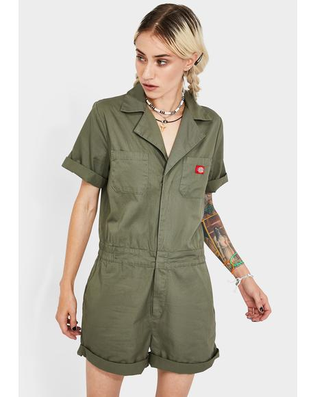 Cuffed Short Sleeve Shortalls