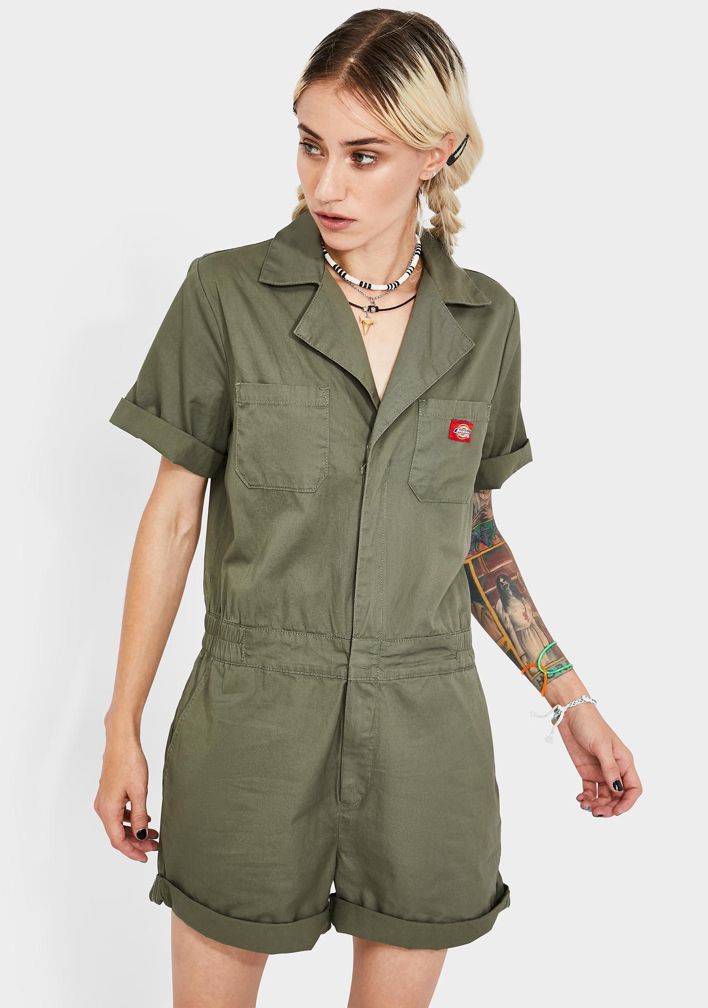 Dickies Girl Cuffed Short Sleeve Shortalls