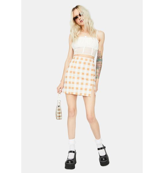 Rust Off The Record Gingham Mini Skirt