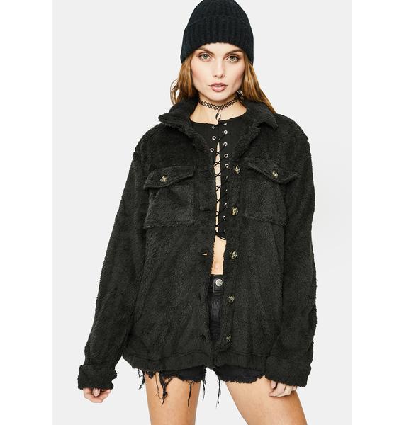 Bailey Rose Black Fuzzy Jacket