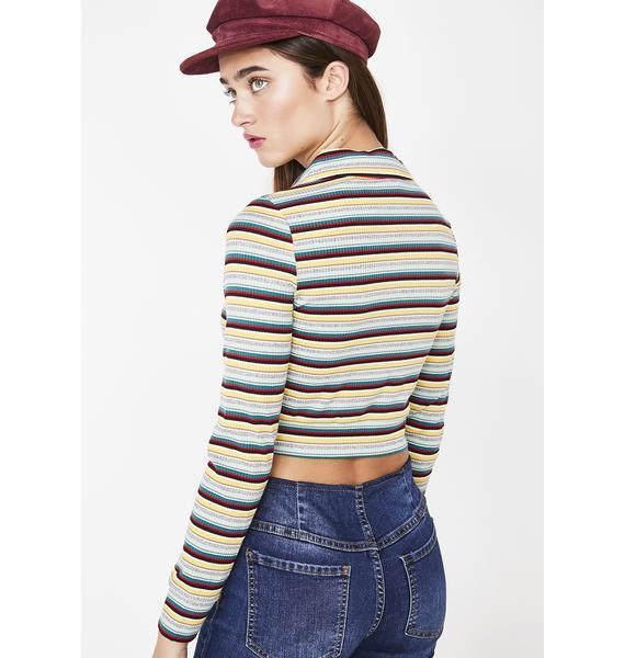 Dank Stripe Stop Whining Zip Up Top