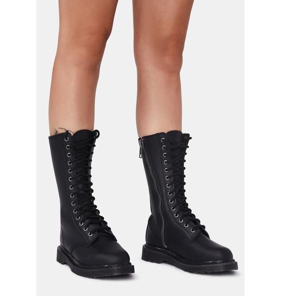 Demonia Matte Black Total Mayhem Combat Boots