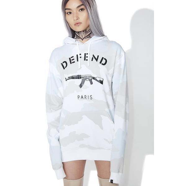 Defend Paris White Camo Hoodie