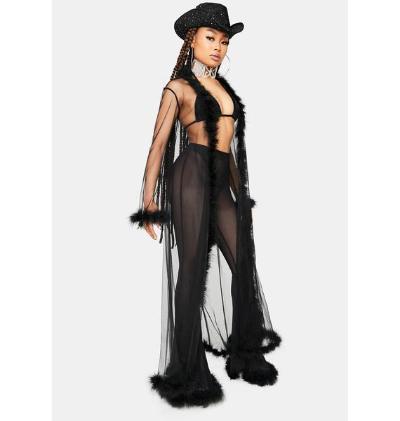 Dark Dance Of Seduction Marabou Sheer Robe