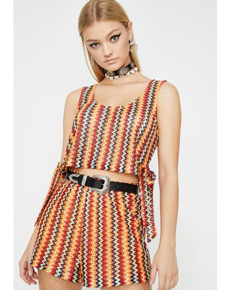 Golden Sunset Crochet Shorts