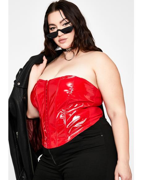 Ur Mistress Cherry Patent Corset