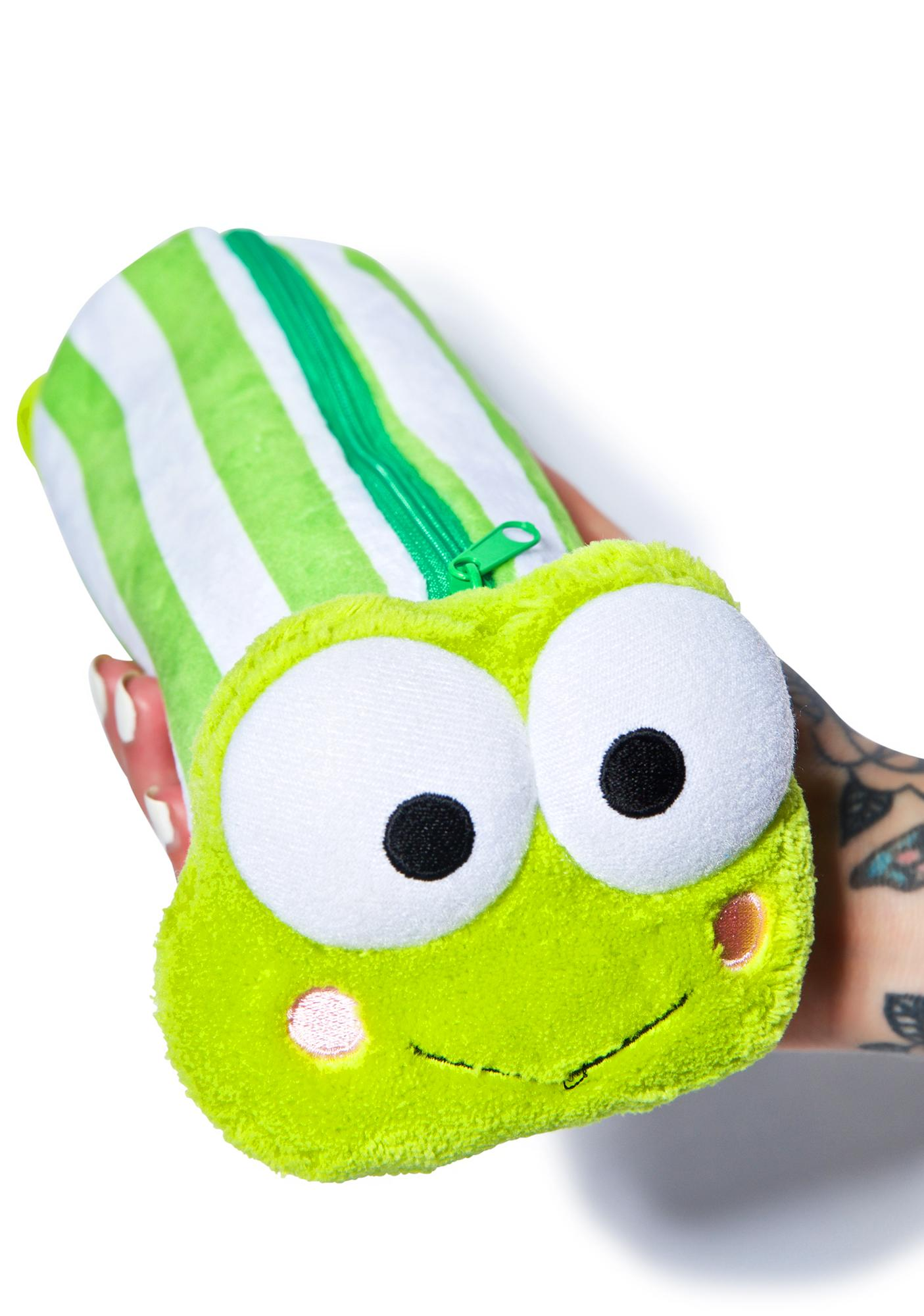 Sanrio Keroppi Green Stripe Pencil Case