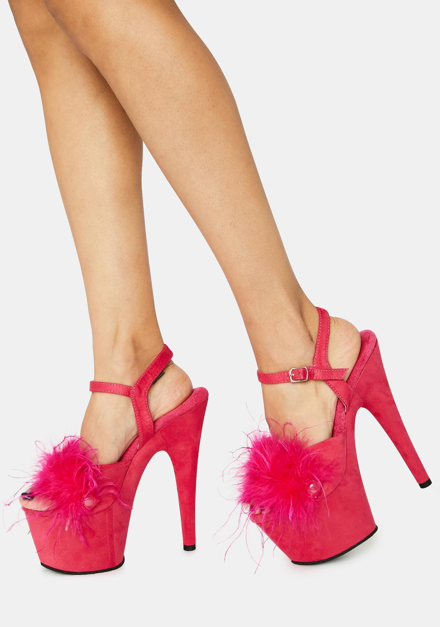 Pleaser Hot Pink Adore Fluffy Heels
