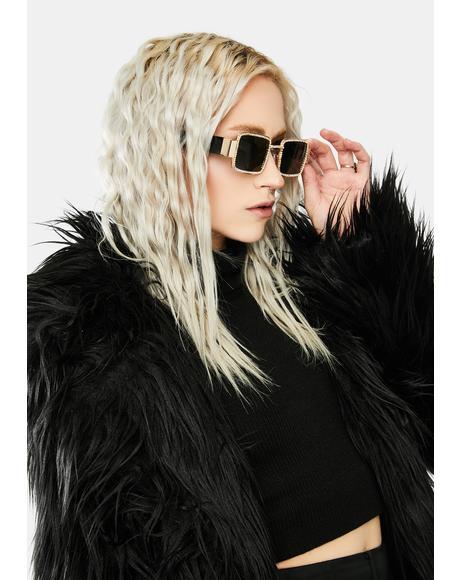 Golden Kind Of Wonderful Rhinestone Sunglasses