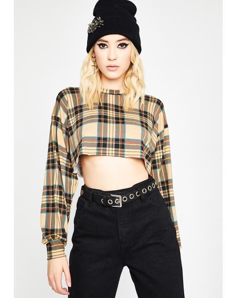 Latte Lumberjack Chic Crop Pullover